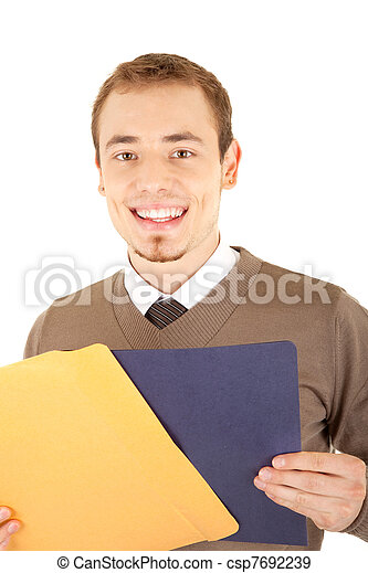Young well-dressed smiling man with envelop and file - csp7692239