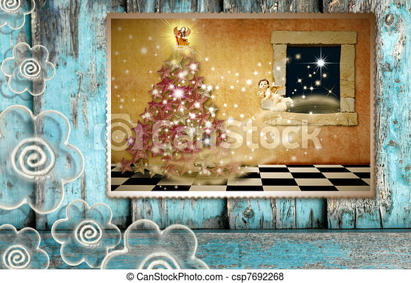 Greeting the spirit of Christmas - csp7692268