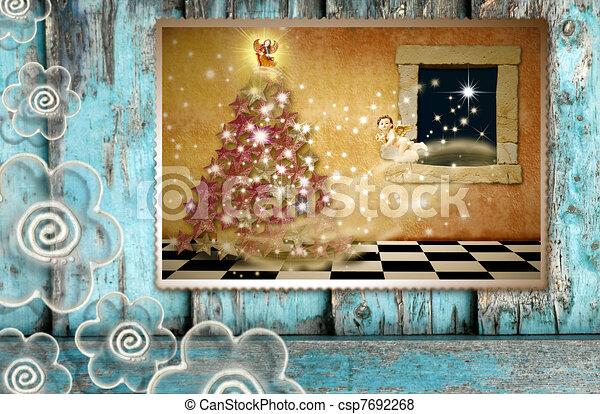 Greeting the spirit of Christmas - csp7692268
