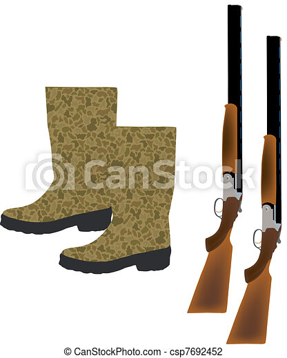 Vector Illustration of hunting Accessories - rifles and ...