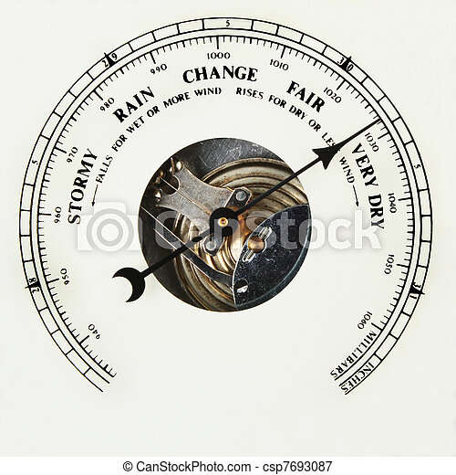 Picture of Barometer dial very dry - Closeup of the dial of an ...
