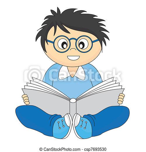 happy child reading - csp7693530