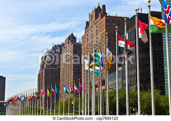 United Nations Headquarters with flags of the   members of the UN - csp7694122