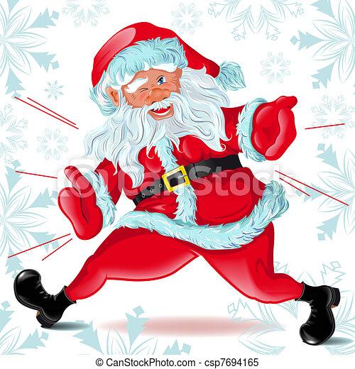 Santa Claus  runs and Winks - csp7694165