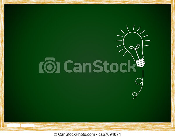 bulb idea on Green board with wooden frame