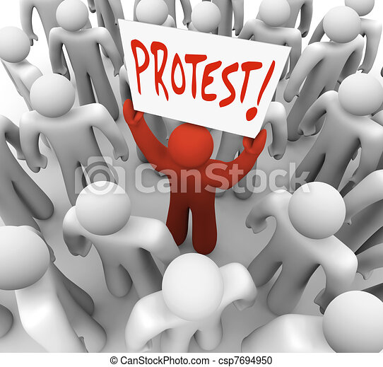 Demonstration Man Holds Protest Sign Movement for Change - csp7694950