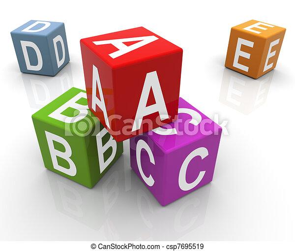 3d colorful abc boxes - csp7695519