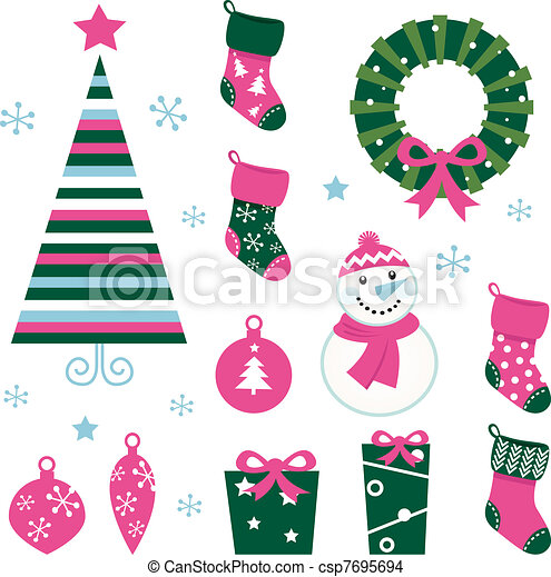 Christmas cartoon icons & elements isolated on white (green, pin - csp7695694