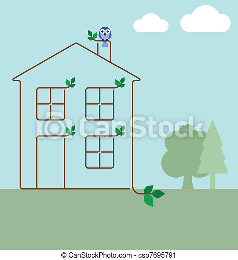 Clipart vettoriali di casa ecologia verde verde for Aprire piani casa concetto