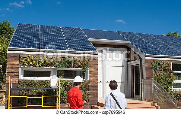 Solar Construction Work House Men Hard Hat Scaffolding - csp7695946