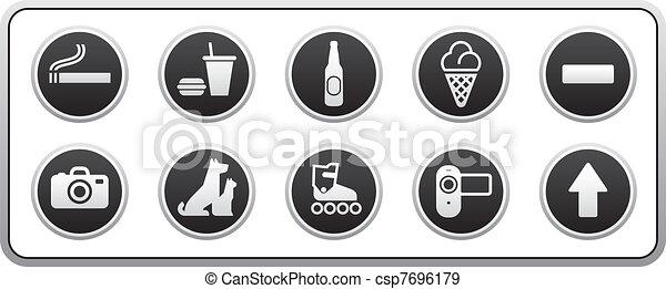 Prohibited Signs round sticker - csp7696179
