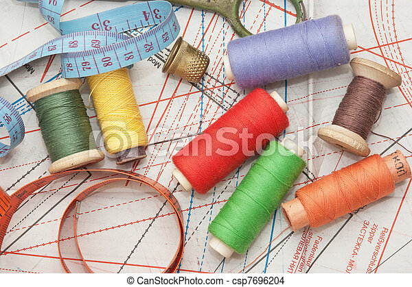 various sewing accessories in the scheme - csp7696204