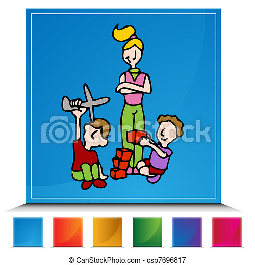 Vectors Illustration of Baby SitterButton Set - An image of a baby ...