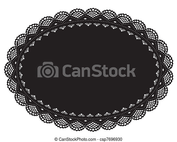 Lace Doily Placemat, Black - csp7696930
