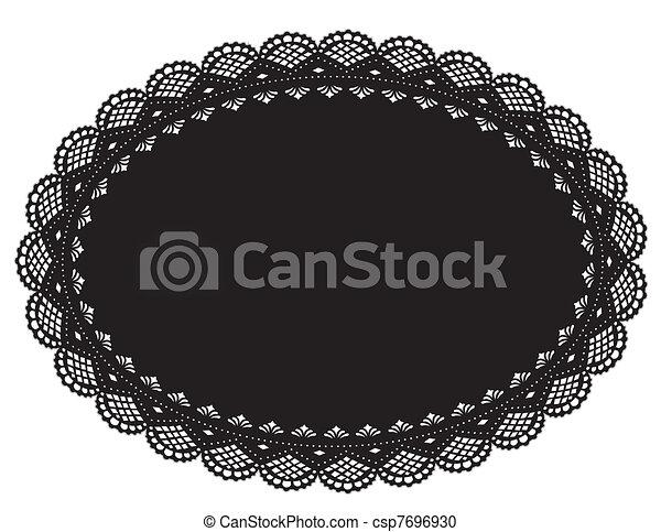 Lace Doily Placemat, Black - csp7696930