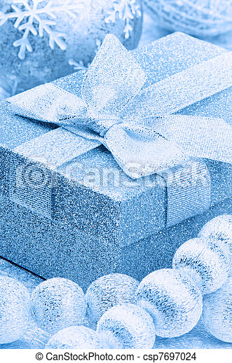 Christmas gift box in blue tone - csp7697024
