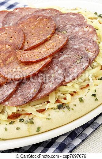 raw salami and pepperoni pizza - csp7697076