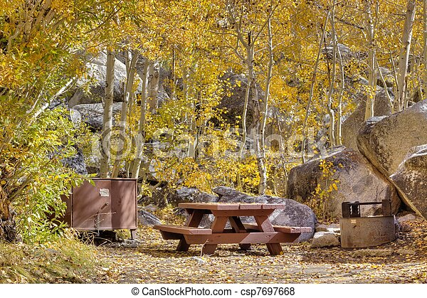 Campsite in fall - csp7697668