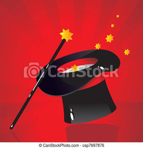Clip art vecteur de soie chapeau magicien a canne csp7697876 recherchez des images - Dessin de chapeau de magicien ...