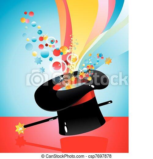 de seda, sombrero, mago, mágico, bastón csp7697878 - Buscar Clipart ...