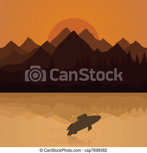 Fish on lake - csp7698382