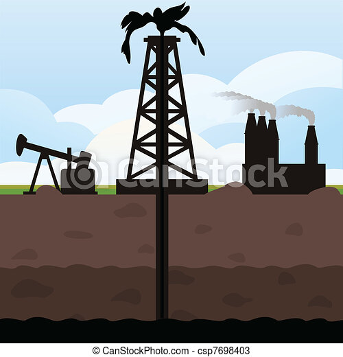 Oil Tower Drawing The Tower Swings Oil From The