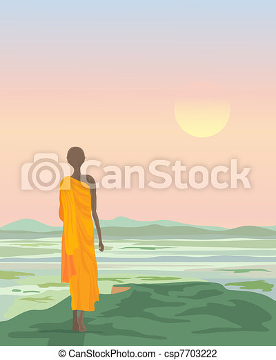 buddhist monk at sunset - csp7703222