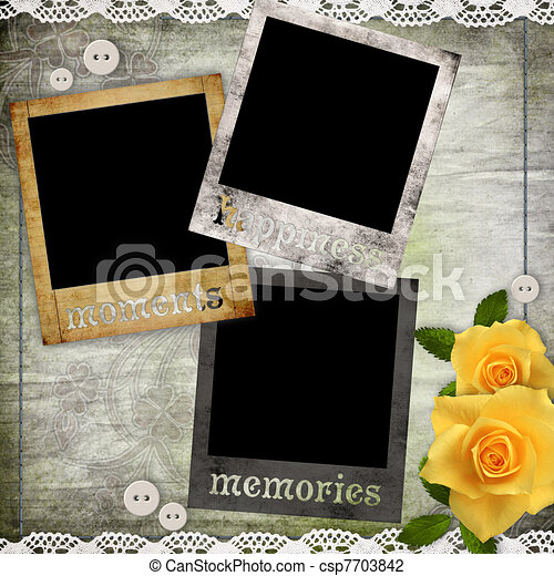 photo frames on the old paper with flowers - csp7703842