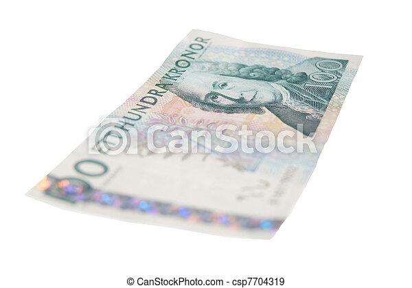 One hundred SEK bill isolated. - csp7704319
