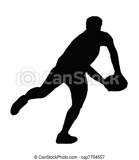 Sport Silhouette - Rugby Player Making Running Pass - csp7704557