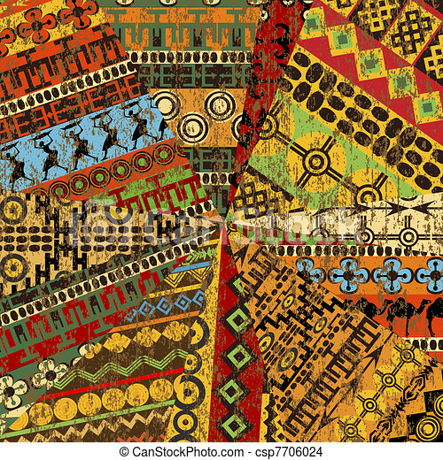 Grunge collage of sample with ethnic motifs - csp7706024