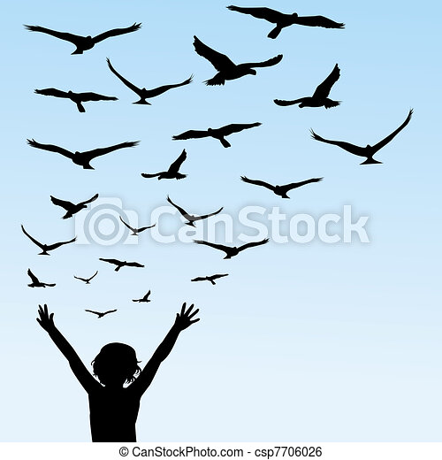 Child learning to fly, illustration with child and birds - csp7706026