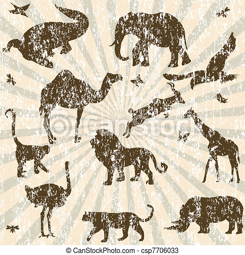 Retro grunge background with animals silhouettes - csp7706033