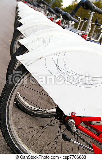 Red rental bicycles in Barcelona Spain - csp7706083