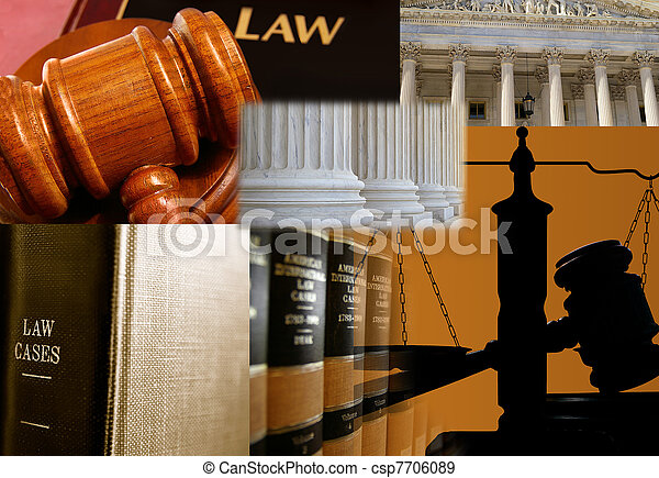 Law books and assorted legal images - csp7706089