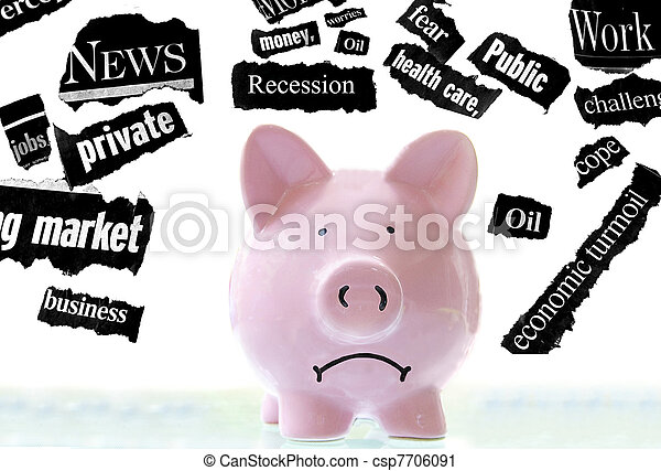 frowning pink piggy bank with bad economic news headlines - csp7706091