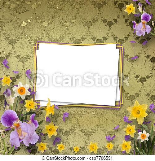 stock fotografie von sch ne rahmen iris narzissen hintergrund wand muster csp7706531. Black Bedroom Furniture Sets. Home Design Ideas
