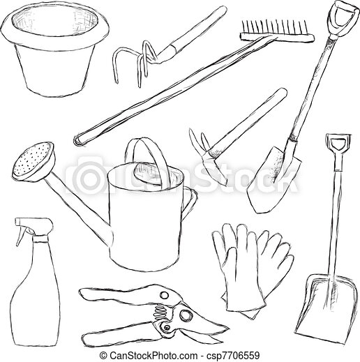 Eps vectors of garden tools csp7706559 search clip art for Gardening tools drawing with names
