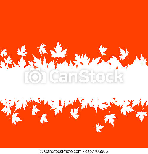Autumn leaves background with plank border - csp7706966
