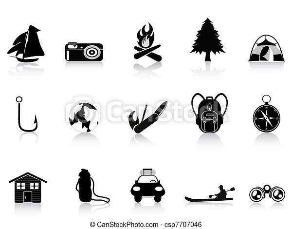 black outdoors and camping icon - csp7707046