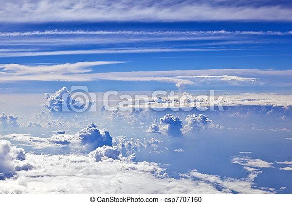 puffy white cloud blue sky - csp7707160