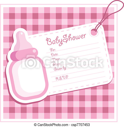 Baby Girl Shower card. - csp7707453