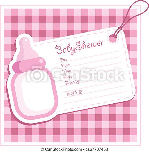 Baby Girl Shower card. - csp7707453