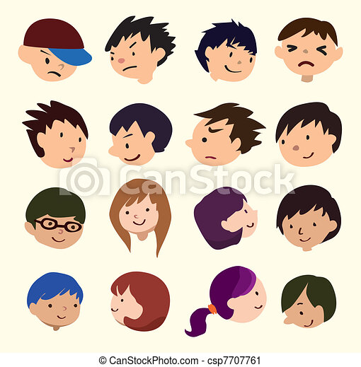 cartoon young people face icon - csp7707761