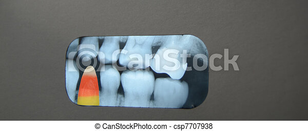 Candy in dental Xray - csp7707938