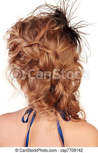 Hair in braid, view of modern female hairstyle - csp7708142