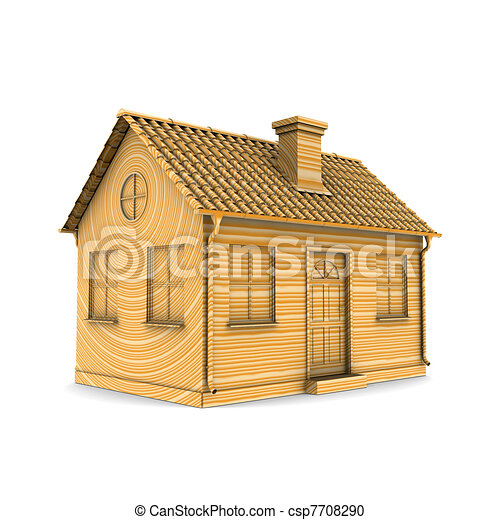 Illustration de maison rendre bois 3d maison de for Dessin de maison en 3d