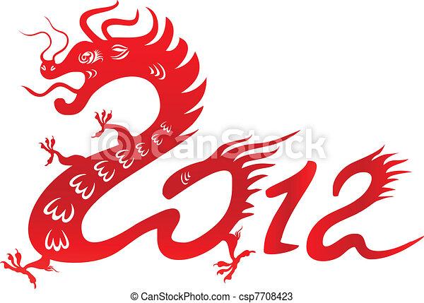 Dragon year 2012. Chinese zodiac - csp7708423