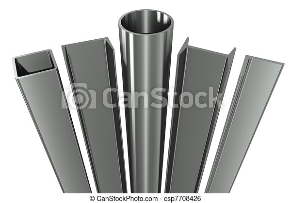 Metal pipe, girders, angles, channels and square tube on a white background - csp7708426