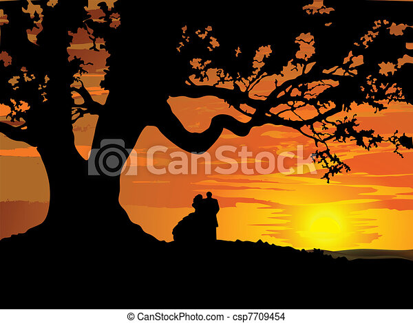 Silhouette of couple in love to tre - csp7709454